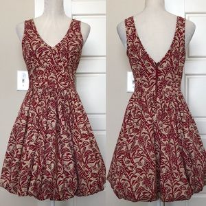 Tracy Reese Red & Cream Floral Dress Size 4